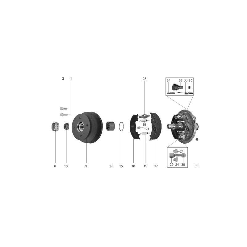 SZCZĘKI HAMULCOWE DO OSI KNOTT 250x40 SZCZĘKA do OSI 1800kg SPRĘŻYNKI