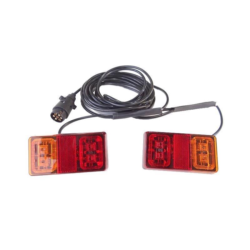 ZESTAW LAMP TYLNYCH NA MAGNES PRZYCZEPA LAWETA LED POMOC DROGOWA ZESTAW NA MASKĘ 12-24V A0322