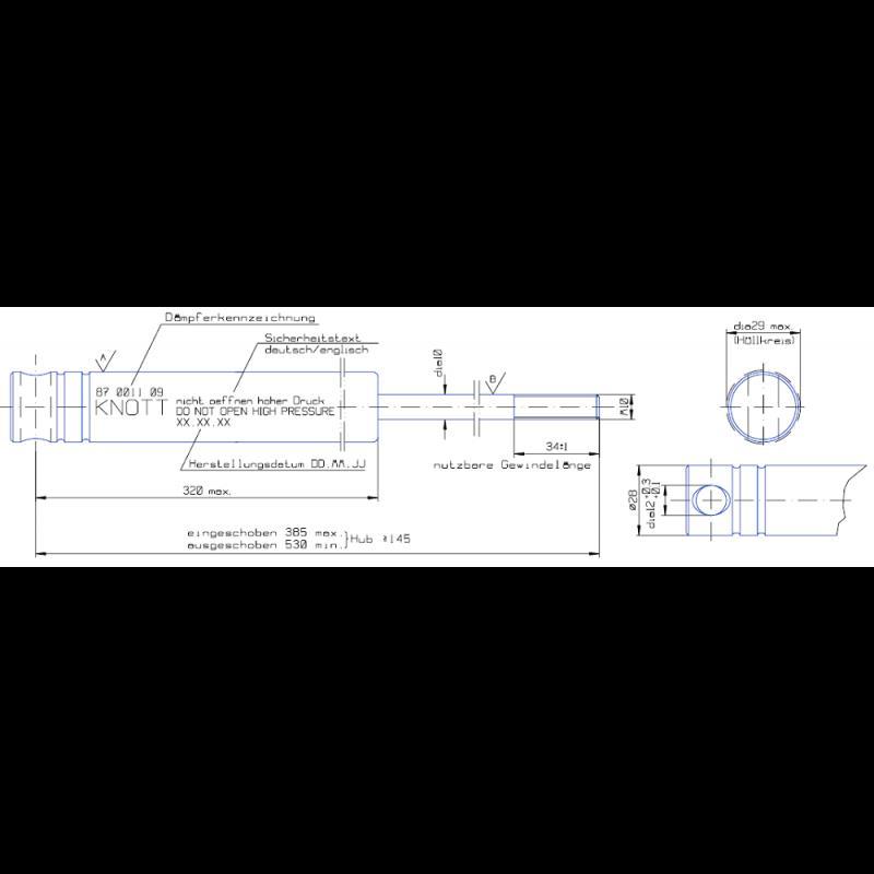 AMORTYZATOR KNOTT 3000kg KF 27A KFG30 HAK HAMULEC A756