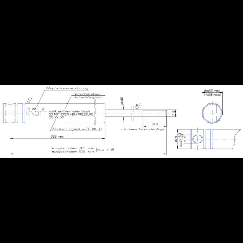 AMORTYZATOR KNOTT 2000kg KF17 KF20 HAK ZACZEP ZAMIENNIK A0757