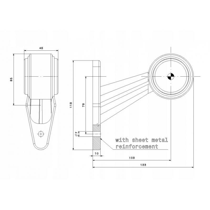 LAMPA OBRYSOWA LED 12-24V LAWETA PRZYCZEPKA LEWA (FT-009C) A0763