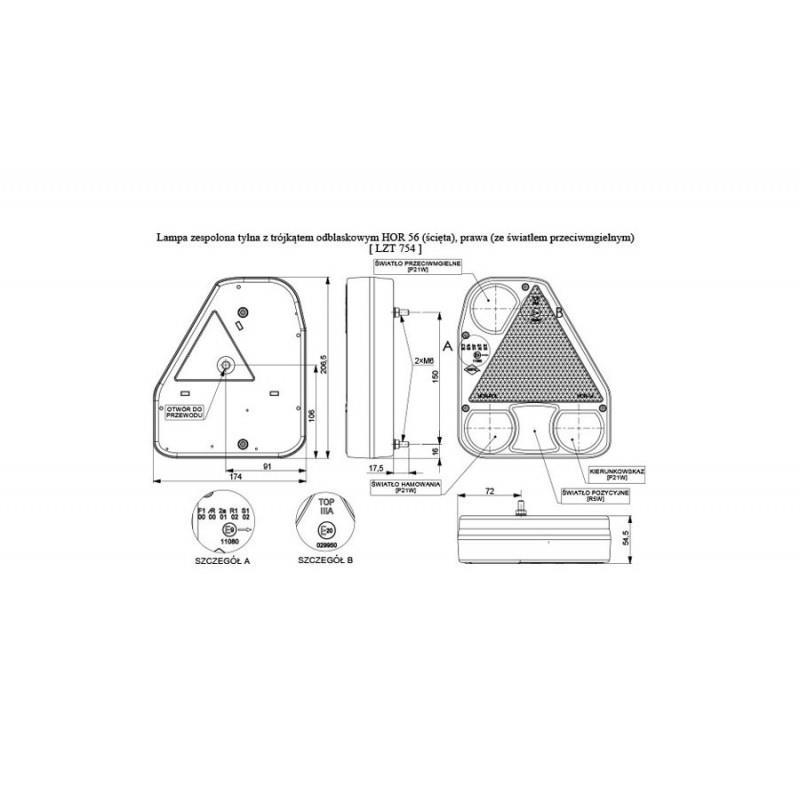 LAMPA NAROŻNA TYŁ KOMPLETNA PRZYCZEPA RYDWAN 68 PP ( LZT 754)  A0158
