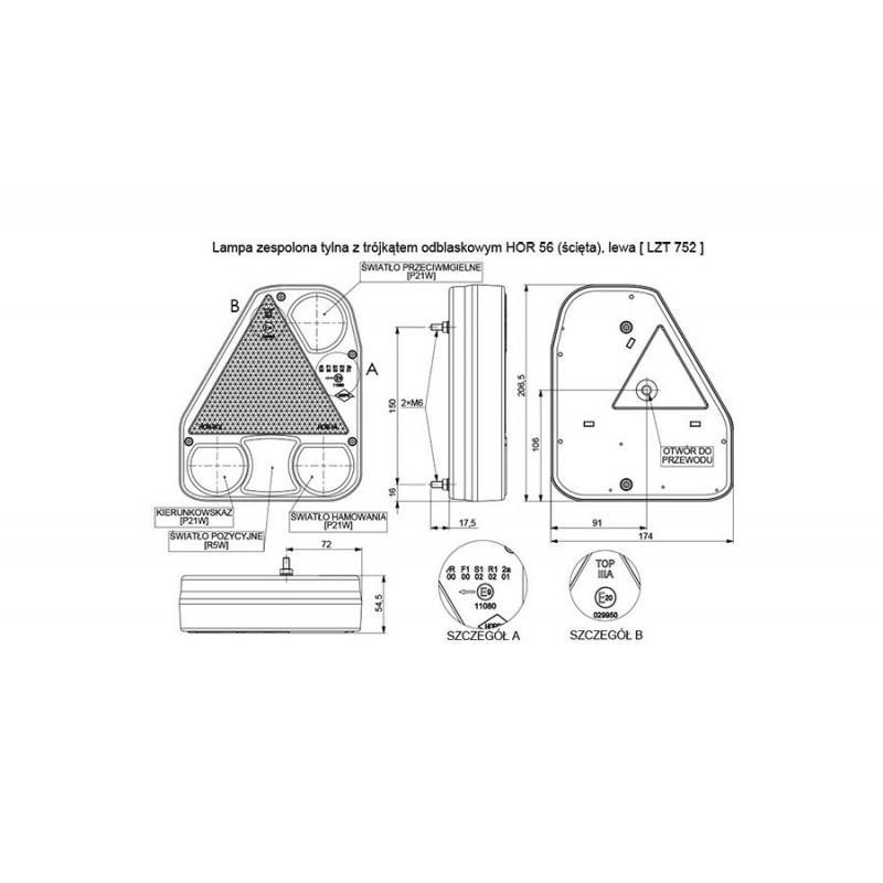 LAMPA NAROŻNA TYŁ KOMPLETNA PRZYCZEPA RYDWAN 68 PR (LZT 752) lewa przeciwmgielna A0766