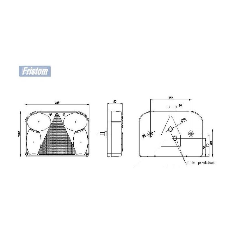LAMPA LAWETY PRZYCZEPY TYLNA prawa HERMETYCZNA FT-088 PCOF,  prawa z trójkątem odblaskowym i światłem cofania A0896