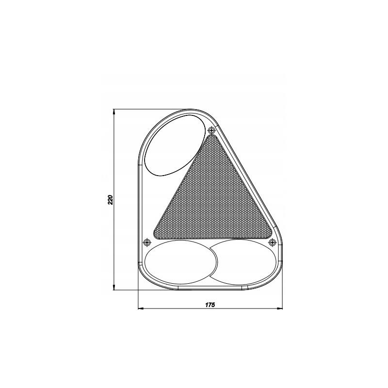 Klosz FT-077 KPPM lampy tylnej narożnej prawej z trójkątem odblaskowymi i światłem przeciwmgłowym A0903