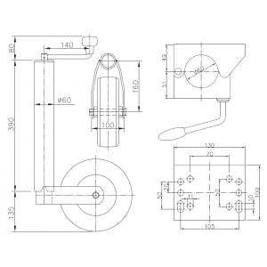 Obejma koła podporowego klema 60 mm obejmy koło A0225
