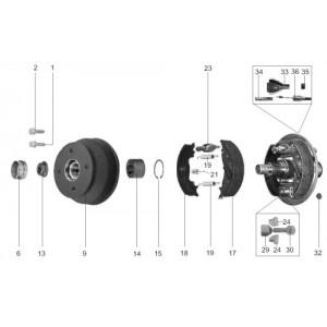 SZCZĘKI HAMULCOWE DO OSI KNOTT 200 X 50 okładziny KOMPLETNE ZE SPRĘŻYNKAMI A0301