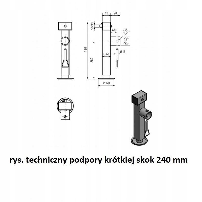 PODPORA PRZYCZEP LAWET TYLNA OBROTOWA STOPA 1300kg A0402