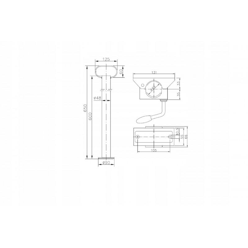 Podpora do przyczepy lawety Fi 48mm + OBEJMA REGULOWANA A0428