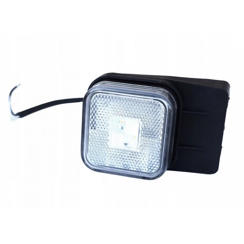 Lampa przednia obrysowa biała led 12/24v kwadratowa A520