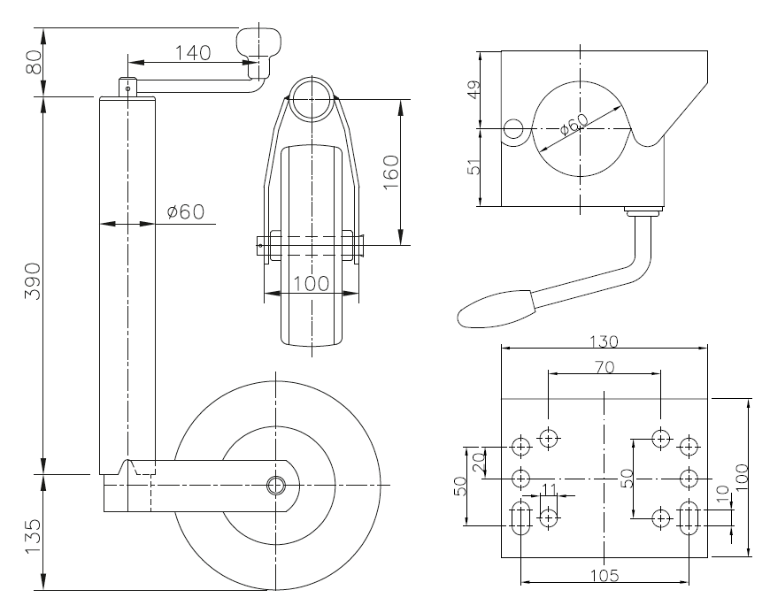 Obejma koła podporowego klema 60 mm